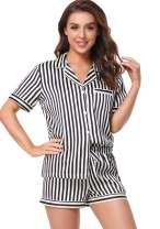 Serenedelicacy Women's Silky Satin Pajamas Short Sleeve PJ Set Sleepwear Loungewear