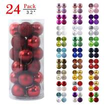 """GameXcel Christmas Balls Ornaments for Xmas Tree - Shatterproof Christmas Tree Decorations Large Hanging Ball Wine Red 3.2"""" x 24 Pack"""