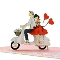 CUTEPOPUP Love Pop Up Cards with Unique Vespa Wedding Design, Sophisticated Details Come in Shining Envelope - The Perfect Handmade Gifts for Your Lover In Valentine or Love Anniversaries.