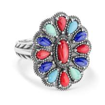 American West Sterling Silver Blue Lapis, Turquoise and Red Coral Multi Gemstone Cluster Design Ring Size 5 to 10
