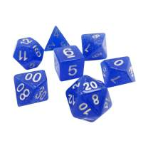 Translucent 7 Piece Polyhedral DND Dice Set by D20 Collective Dice for Table Top Dungeons and Dragons RPGs and Gaming