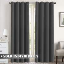 "Blackout Curtain for Bedroom / Living Room Thermal Insulated Energy Efficient Window Treatment Curtain Drapes Draperies Soft Thick Smooth Room Darkening Single Panel 52""W x 96""L, Charcoal Gray"