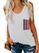 Aleumdr Women's Tank Tops Loose Fit Casual Sleeveless Top T Shirt with Multicolor Pocket
