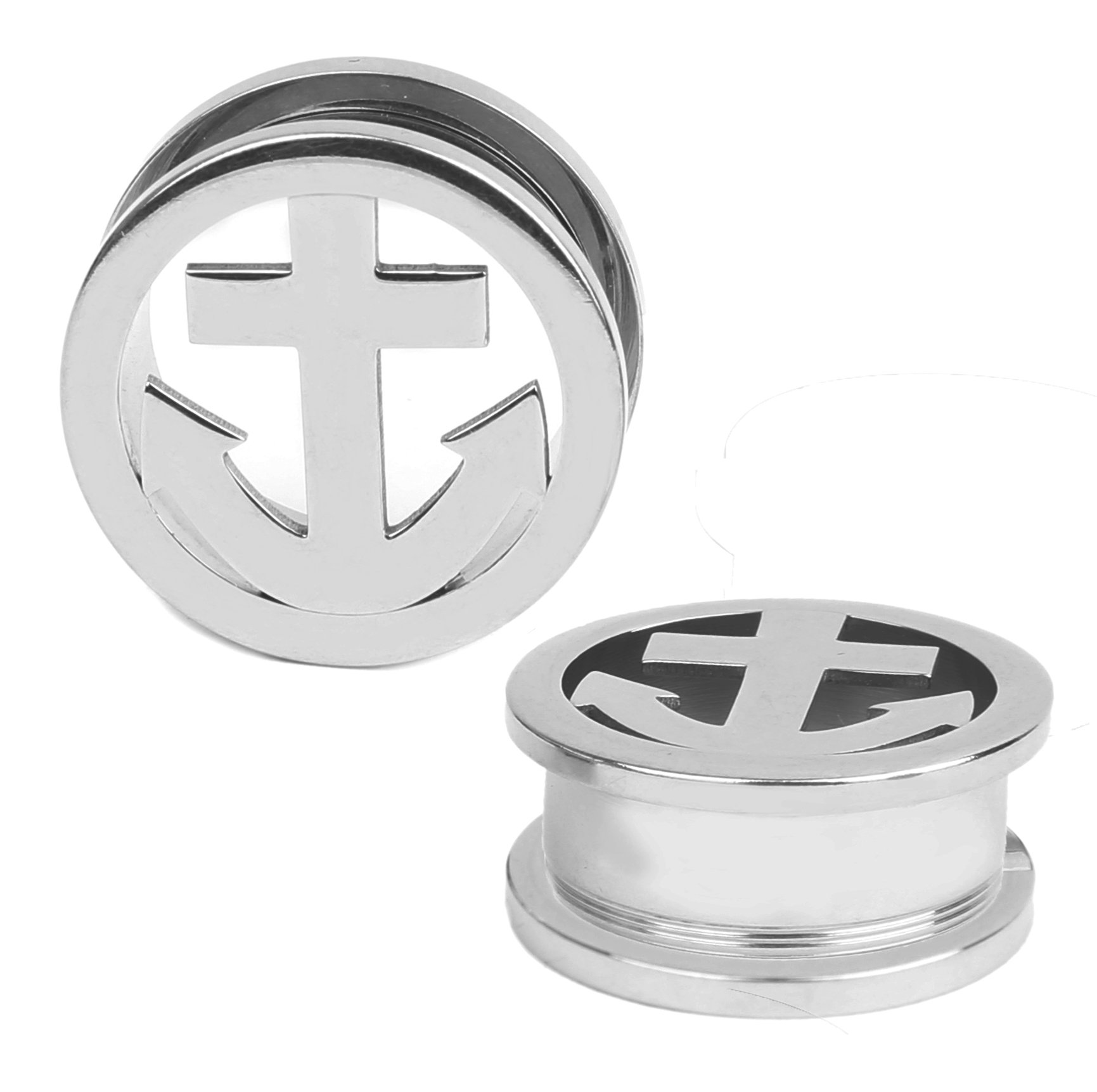 BodyJ4You Nautical Anchor Plugs Stainless Steel Screw Fit Flesh Tunnel 2 Gauge - 22mm - 1 Pair