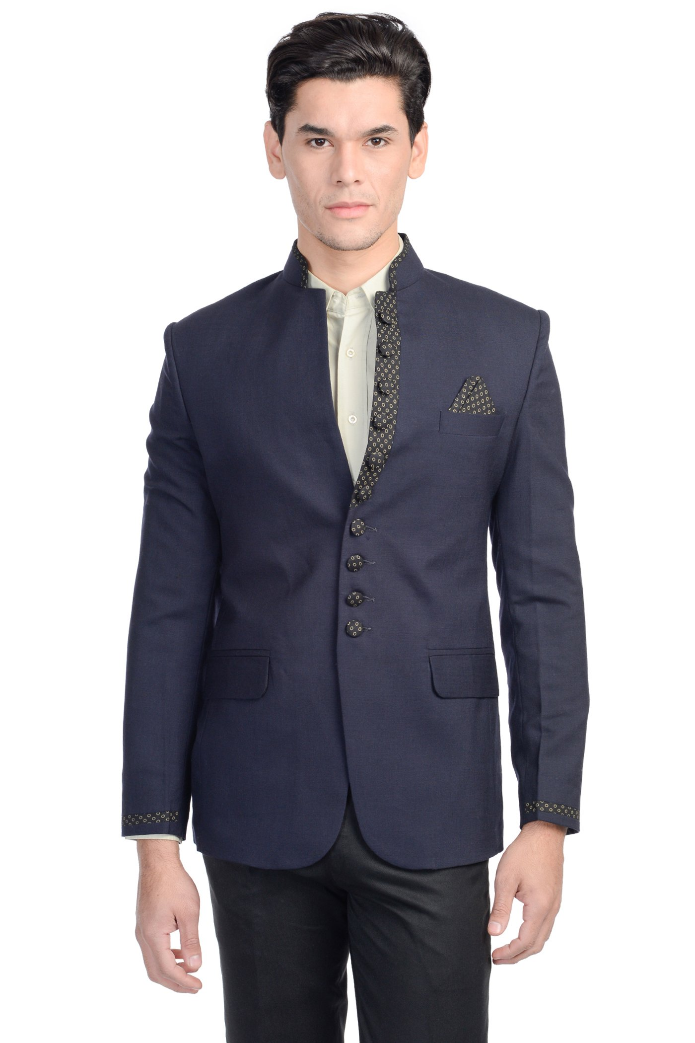 WINTAGE Men's Rayon Cotton Modified Bandhgala Festive and Casual Navy Nehru Multiple Colors
