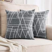MIULEE Pack of 2 Decorative Throw Pillow Covers Geometric Pattern Chenille Cozy Modern Concise Soft Grey Square Cushion Shams for Bedroom Sofa Car 18 x 18 Inch