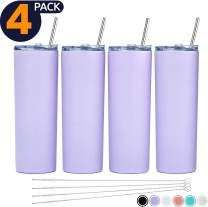 SKINNY TUMBLERS (4 pack) 20oz Stainless Steel Double Wall Insulated Tumblers with Lids and Straws | Skinny Travel Mug, FREE Straw Cleaner! Reusable Cup With Straw | Vinyl DIY Gifts (Lavender)
