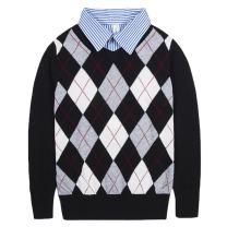 Benito & Benita Boys V-Neck Sweater with Shirt Collar Argyle Pullovers Sweatshirt