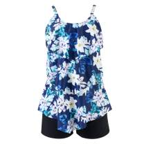 RUUHEE Women Floral Printed Flounce Crop Top with Boyshorts Bottom 2 Piece Tankini Set Swimsuits