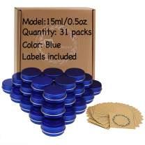 31pcs 0.5oz/15ml Blue Aluminum Tin Jar with Screw Lid and Blank Labels