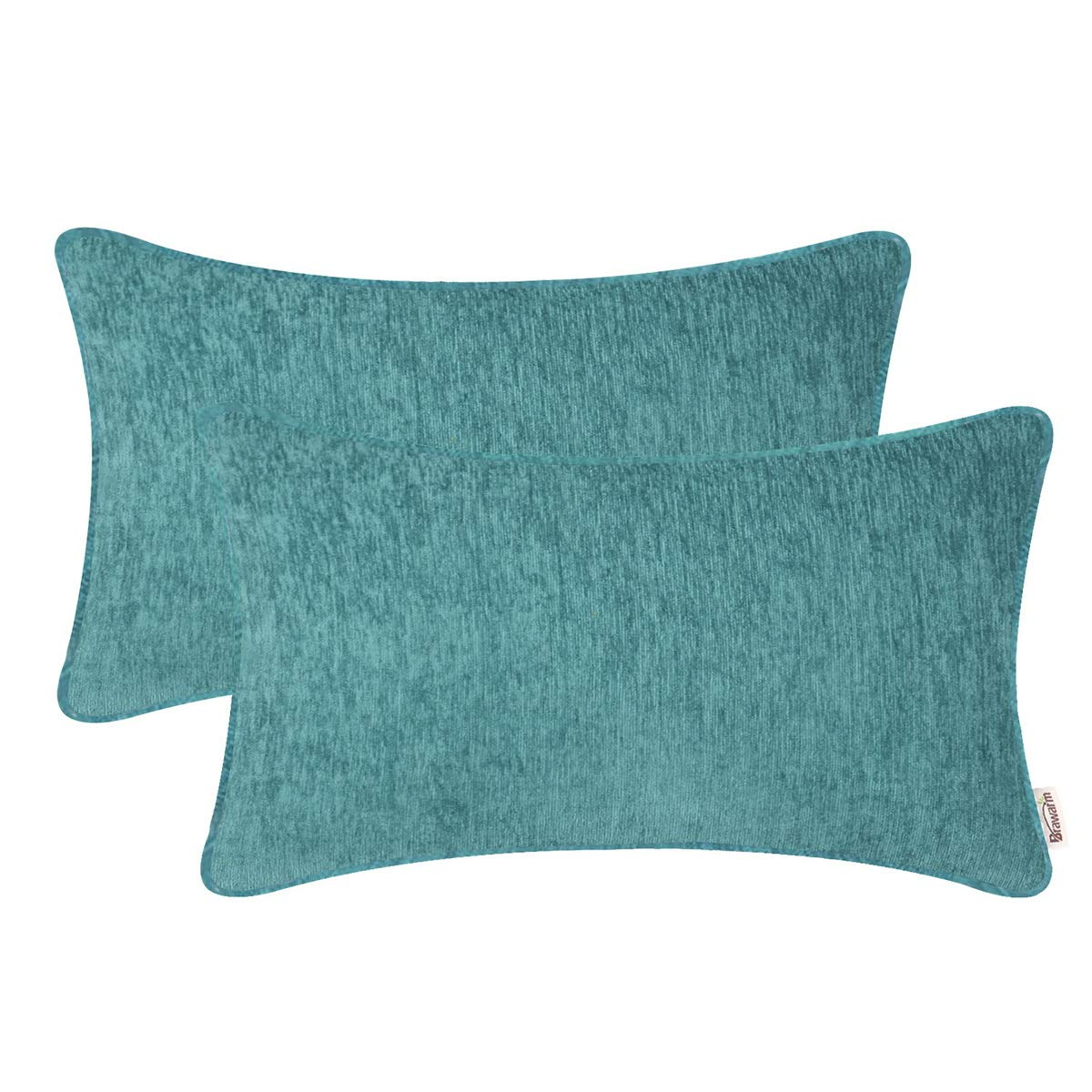 BRAWARM Pack of 2 Cozy Bolster Pillow Covers Cases for Sofa Couch Home Decoration Solid Dyed Striped Soft Chenille with Piping 12 X 20 Inches Teal