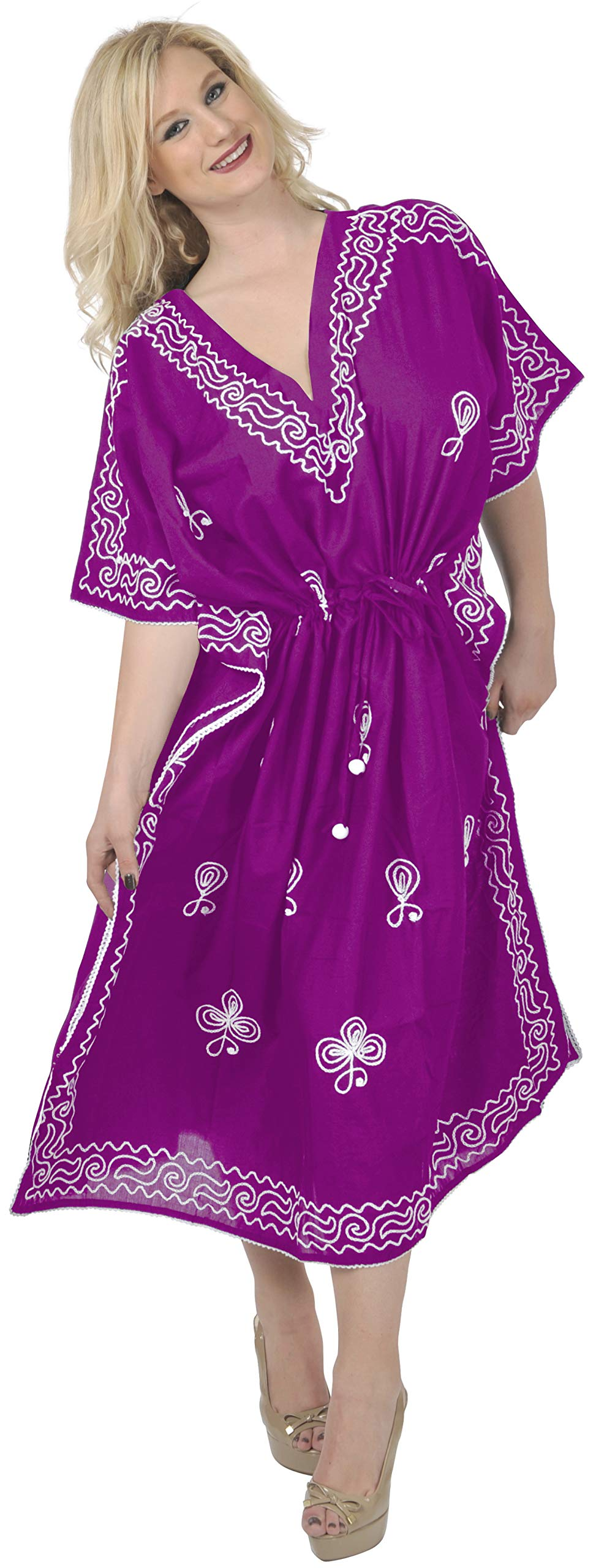 LA LEELA Women's Long Casual Kaftan Dresses Sleepwear Beach Cover Up Embroidery