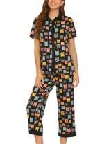Ekouaer Sleepwear Pajama Set for Women Floral Short Sleeve Nightgown Pjs Sets