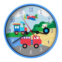 Wildkin Kids Wall Clock for Boys and Girls, Features Silent Quartz Movement, Glass and Durable Plastic Cover, Battery Not Included, Measures 12 x 1.63 x 12 Inches,Olive Kids(Trains, Planes and Trucks)