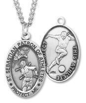 Heartland Men's Sterling Silver Oval Saint Sebastian Soccer Medal + USA Made + Chain Choice