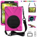 ZenRich New iPad 9.7 2017 2018 Case,360 Degree Rotatable with Kickstand,Hand Strap and Shoulder Strap case, 3 Layer Hybrid Heavy Duty Shockproof case for iPad 9.7 5th/6th Generation (Rose)