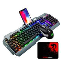 Wireless Gaming Keyboard and Mouse Combo, Rechargeable 16 Kinds RGB Backlit Mechanical Feel Keyboard and 7 Color Gaming Mute Mouse with 5000mAh Battery Metal Panel, for Windows Computer Gamers