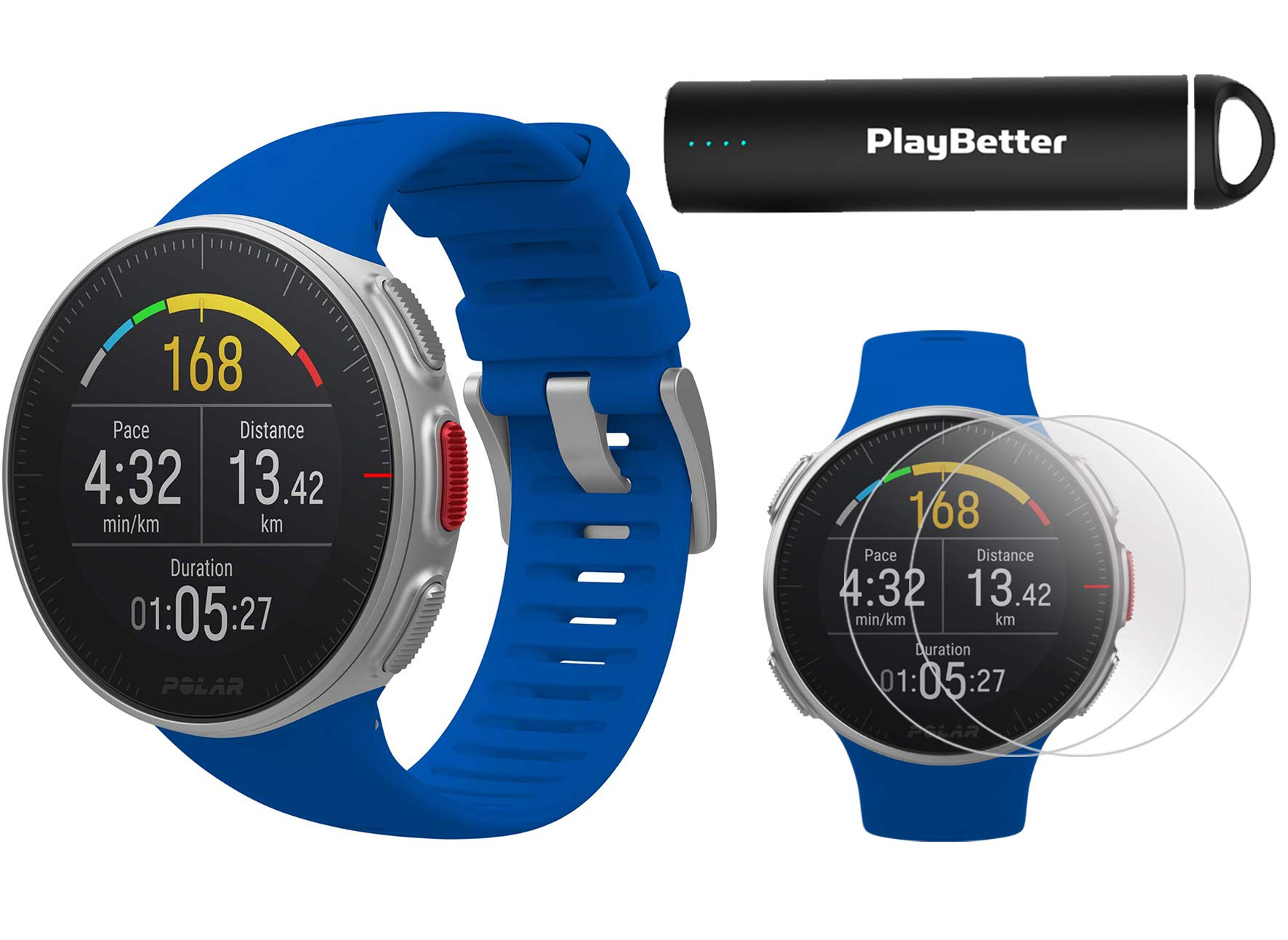 Polar Vantage V Pro (Blue) Power Bundle with PlayBetter Portable Charger & HD Screen Protectors (4-Pack) | GPS & Barometer | Heart Rate, Multisport Watch
