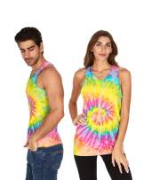 Tie Dye Tank Top Men Women - Fun Bright Colotful Tops, Saturn, X-Large