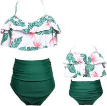 Mommy and Me Matching Family Swimsuit Ruffle Women Swimwear Kids Children Toddler Bikini Bathing Suit Beachwear Sets