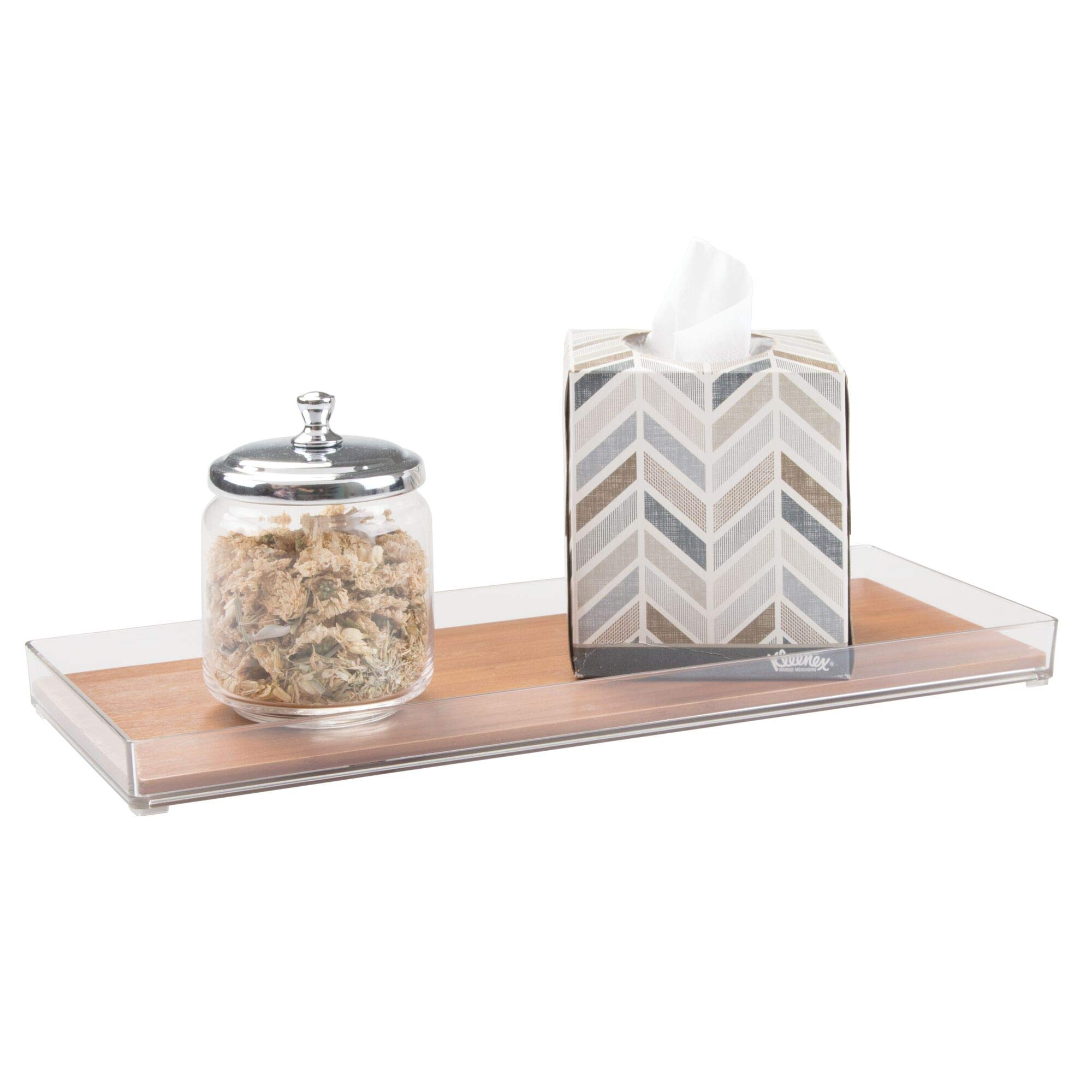 """iDesign Formbu Wooden Vanity Storage Organizer, Tank Tray for Makeup Brushes, Tissues, Candles, Soap, Hand Towels, Toilet Paper, 6"""" x 16"""" x 1.1"""" - Natural Beige"""