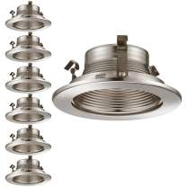 TORCHSTAR 4 Inch Recessed Light Trim with Satin Nickel Metal Step Baffle, for Recessed Can, Fit Halo/Juno Remodel Recessed Housing, Line Voltage Available, Pack of 6