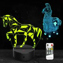 Llama & Horse Gifts 3D Night Light Lamp Toys for Kids Boys Girls 7 Colors Changing Remote and Touch Control Birthday Christmas New Year Gifts for Age 2 3 4 5 6 7+ Year Old Kids