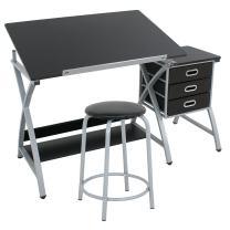 ZENY Tabletop Tilted Drawing Drafting Table Craft Drafting Desk Board Art Workstation w/ 3 Slide Drawers & Stool,Tabletop Adjustable,Art Craft Supplies