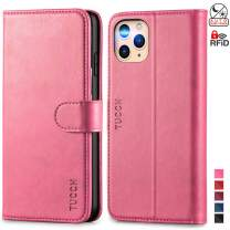 TUCCH iPhone 11 Pro Wallet Case, RFID Protection Card Holder Stand Magnetic PU Leather Folio Cover with [Auto Wake Sleep] [TPU Shockproof Inner Case] Compatible with iPhone 11 Pro 5.8 inch, Hot Pink