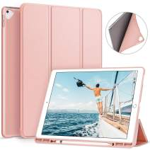 Ztotop Case for iPad Pro 12.9 Inch 2017/2015 with Pencil Holder,Lightweight Soft TPU Back Cover and Trifold Stand with Auto Sleep/Wake for iPad Pro 12.9 Inch(1st & 2nd Generation),Rosegold