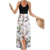 Women's Casual Sleeveless Summer Strappy V Neck Maxi Dress Criss Cross Backless Cami Dress Asymmetrical Beach Sundress