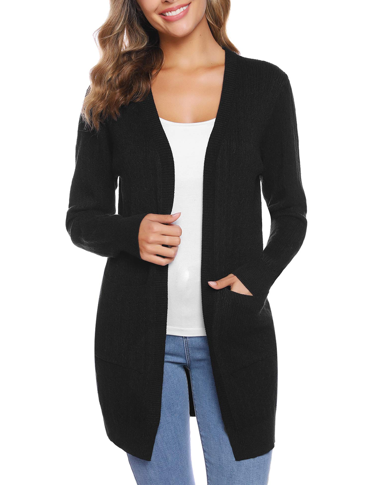 iClosam Women's Thick Long Sleeve Open Front Cardigan Knit Sweater with Pockets