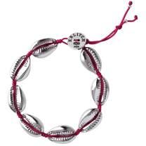 KELITCH Natural Shell Gold Shell Cowry Beaded Friendship Bracelets Boho Fashion Beach Seashell Strand Bracelets Women Jewelry (Red 2A)