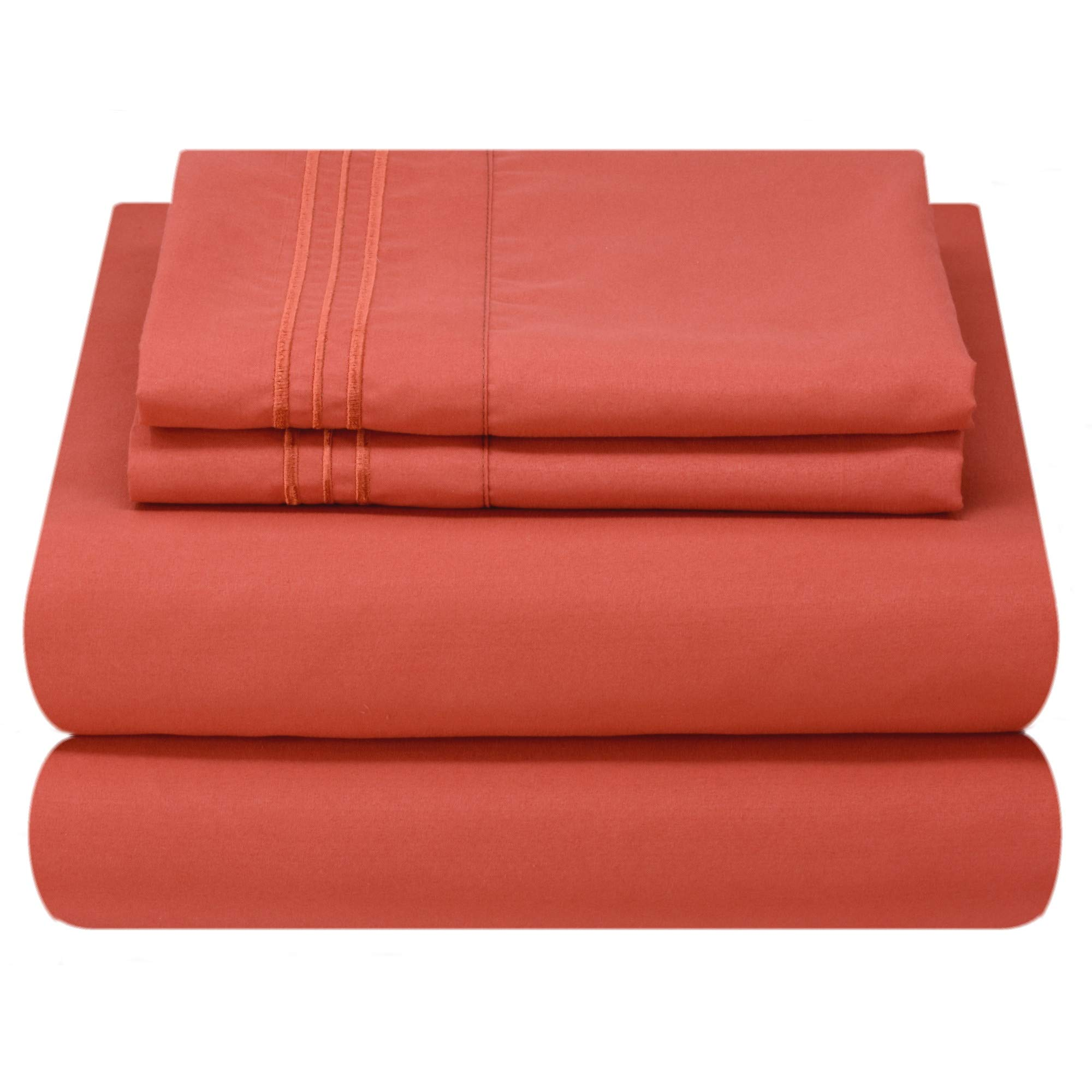 Mezzati Luxury Bed Sheet Set - Soft and Comfortable 1800 Prestige Collection - Brushed Microfiber Bedding (Orange Rust, Full Size)