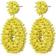 Suyi Trend Handmade Beaded Earrings Statement Drop Earrings Bohemian Tassel Dangle Earrings Creative Gifts for Women Lady