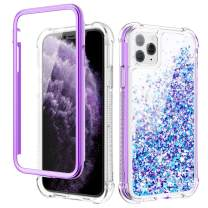 Caka iPhone 11 Pro Case, iPhone 11 Pro Glitter Liquid Full Body Case with Built in Screen Protector Moving Bling Quicksand Girls Girly Women Cute Shockproof Protective Case for iPhone 11 Pro (Purple)
