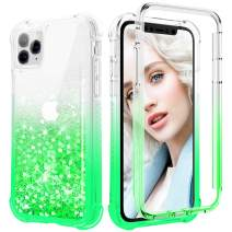 Maxdara Glitter Case for iPhone 11 Pro Max Case, 360 Full-Body Case with Built-in Screen Protector Sparkly BlingLiquid Rugged Shockproof Protective Case for iPhone 11 Pro Max 6.5 inches (Green)