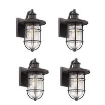 Bestshared Outdoor Wall Sconce, 1-Light Vintage Exterior Wall Light, Outdoor Wall Mount Light in Black Finish with Seeded Glass Shade(4 Pack)