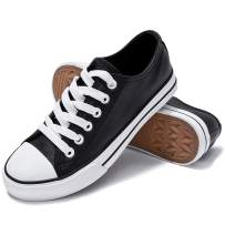 Women's PU Leather Sneakers Fashion Low Top Casual Shoes Black