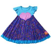 TwirlyGirl Cute Valentines Dress for Girls Fun Purple Polka Dots Pink Heart USA