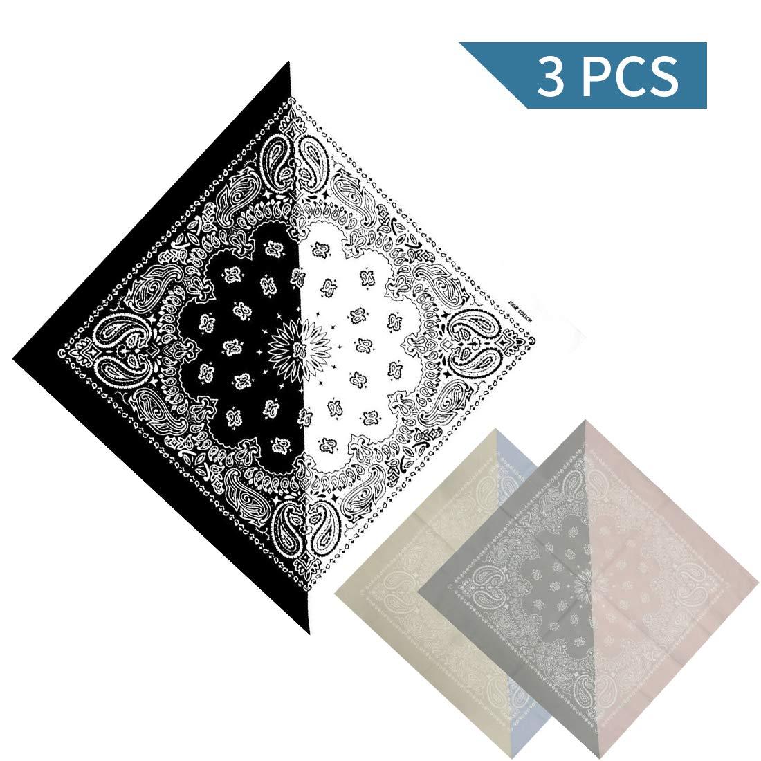 Bandanas 100% Cotton Paisley Print Scarf Wristband - Set of 3