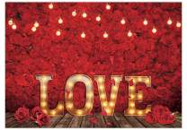 Funnytree 7x5FT Love Red Rose Backdrop Valentine's Day Flower Background Vintage Romantic Wedding Couple Girl Bridal Shower Baby Shower Party Decor Banner Studio Photography Prop Photobooth Gift