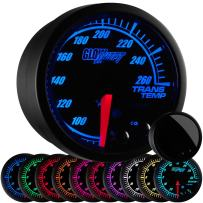 "GlowShift Elite 10 Color 260 F Transmission Temperature Gauge Kit - Includes Electronic Sensor - Black Dial - Tinted Lens - Peak Recall Function - for Car & Truck - 2-1/16"" 52mm"