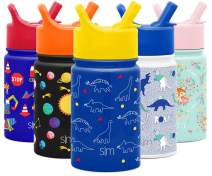 Simple Modern 10oz Summit Kids Water Bottle Thermos with Straw Lid - Dishwasher Safe Vacuum Insulated Double Wall Tumbler Travel Cup 18/8 Stainless Steel -Dinosaurs