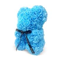 The Teddy Rose-10 Inches Rose Teddy Flower Bear Blue Rose Bear for Graduation, Valentine's Day, Father's Day, Mother's Day, Graduation, Christmas, Anniversary, Birthday, Wedding, Baby Shower