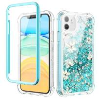 Caka iPhone 11 Case, iPhone 11 Glitter Liquid Case Floral Full Body with Built in Screen Protector Bling Quicksand Girls Girly Women Cute Flower Protective Case for iPhone 11 (Light Blue)