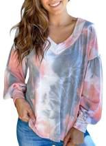 BLENCOT Women's Lightweight V Neck Puff Sleeve Sweatshirt Casual Loose Pullover Tops Shirts