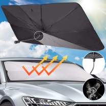 JoyTutus car Sun Shade for Windshield, The 360° Rotation Bendable Shaft Protect The car Center Console from Scratches, Foldable Car Umbrella Sunshade Cover UV Block , Easy to Store/ use (55''x 31'')