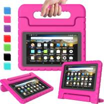 AVAWO Kids Case for Amazon Kindle Fire 7 2019, Kids Shockproof Convertible Handle Light Weight Stand Protective Case for All New Fire 7 Tablet (9th generation, 2019 release), Rose