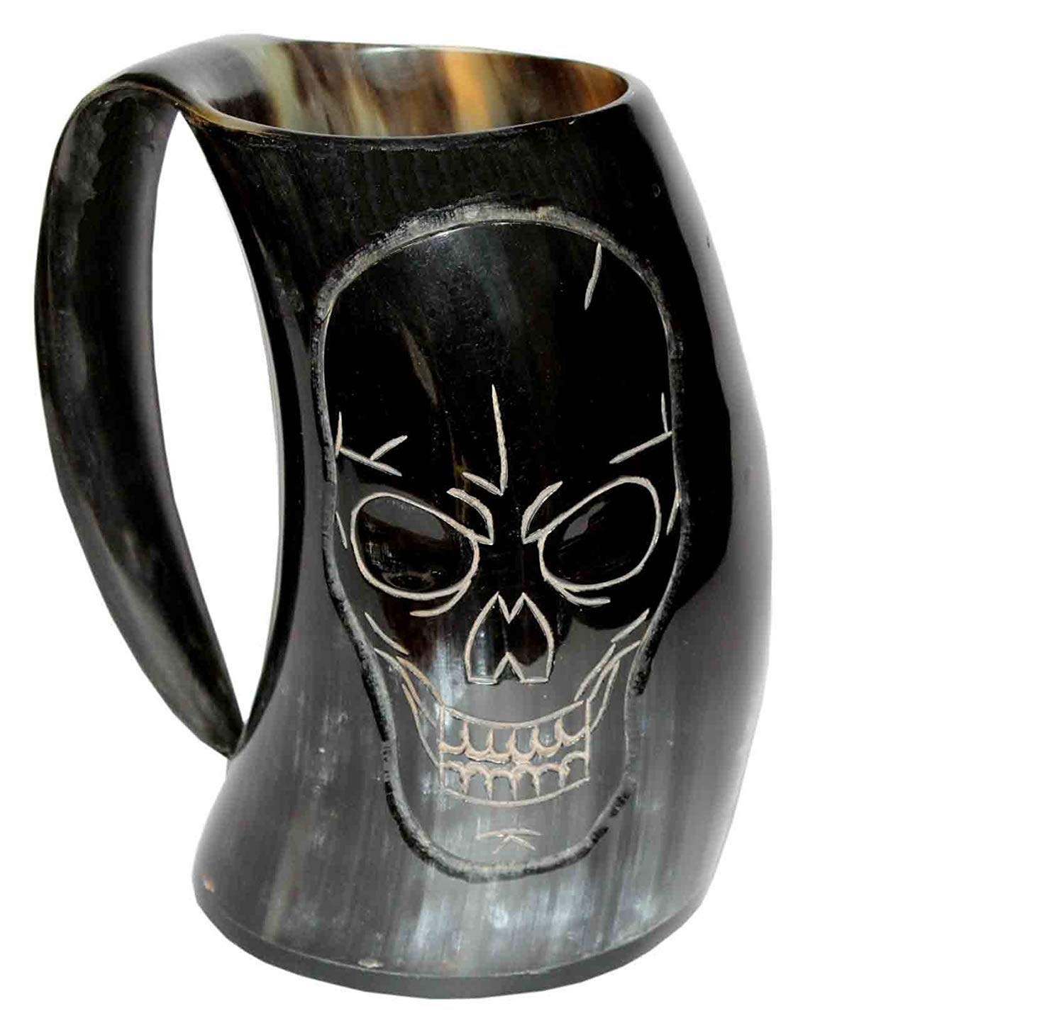 5MoonSun5's VIKING DRINKING HORN MUG Handcrafted Ox Cup Goblet - Drink Mead & Beer Like Game of Thrones With This Large Ale Stein - A Perfect Present For Real Men traditionally craft skull (HBM-SKL16)